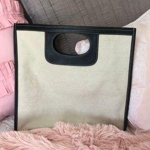 J. Crew Leather and Canvas Clutch
